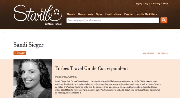 Sandi Sieger, Startle/Forbes Expert, Travel Correspondent