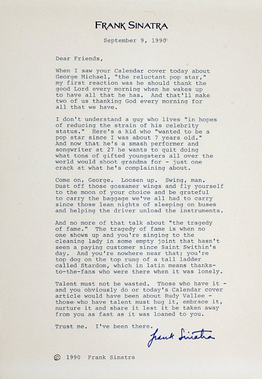 Frank Sinatra's Letter to George Michael, 1990, Calendar Magazine